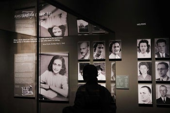 """FILE PHOTO: A picture of Anne Frank is displayed in an exhibition at the Museum of Jewish Heritage entitled """"Auschwitz. Not long ago. Not far away"""" in New York City, on May 02, 2019."""