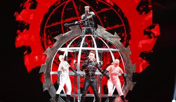 Iceland's Hatari rehearses ahead of the 64th edition of the Eurovision Song Contest Tel Aviv, May 13, 2019.