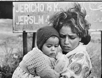 Palestinian refugees in the New Amman refugee camp in Eastern Jordan, 1971.