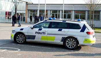 FILE PHOTO: A police vehicle is seen in Aalborg, Denmark, April 25, 2019.