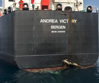 """A picture taken on May 13, 2019 off the coast of the Gulf emirate of Fujairah shows Norwegian oil tanker Andrea Victory, one of the four tankers damaged in alleged """"sabotage attacks"""" in the Gulf the previous day"""