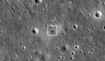Beresheet impact site as seen by LROC 11 days after the attempted landing.