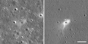 Left: Beresheet impact site. Right: An image processed to highlight changes near the landing site among photos taken before and after the landing, revealing a white impact halo.