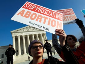 Abortion rights activists protest outside of the U.S. Supreme Court, during the March for Life in Washington. Jan. 18, 2019
