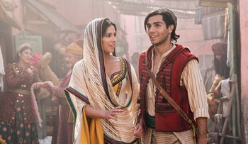 "Naomi Scott as Jasmine and Mena Massoud as the title character in Disney's remake of ""Aladdin."""