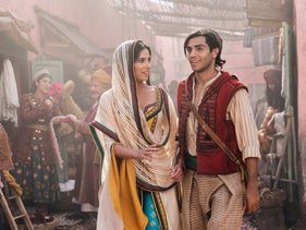 """Naomi Scott as Jasmine and Mena Massoud as the title character in Disney's remake of """"Aladdin."""""""