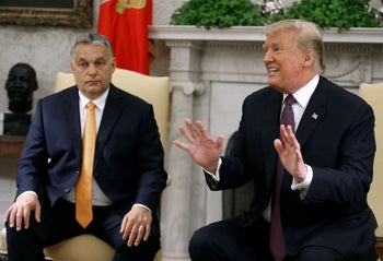 File photo: U.S. President Donald Trump speaks to the media during a meeting with Hungarian Prime Minister Viktor Orban, in the Oval Office, May 13, 2019.