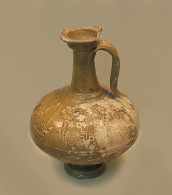 Central Gaulish relief-decorated lead-glazed flagon, 1st century AD, from the British Museum London.