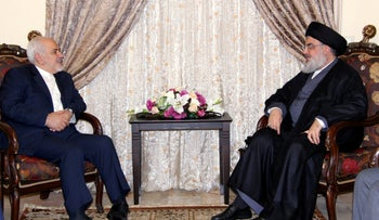 File photo: Lebanon's Hezbollah leader Sayyed Hassan Nasrallah meets with Iran's Foreign Minister Mohammad Javad Zarif, February 11, 2019.