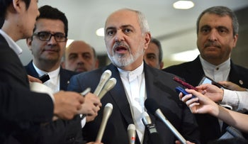 Iranian Foreign Minister Mohammad Javad Zarif answers questions after a meeting with Japanese Foreign Minister Taro Kono, Tokyo, Japan, May 16, 2019.