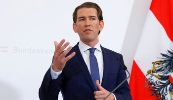 Austrian Chancellor Sebastian Kurz gives a press conference in Vienna, May 18, 2019.