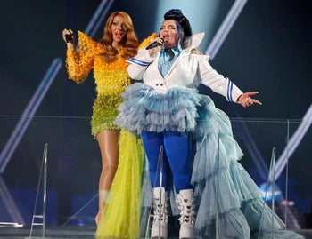 Dana International and Netta Barzila perform during the Grand Final of the 64th edition of the Eurovision Song Contest 2019 at Expo Tel Aviv, May 18, 2019.