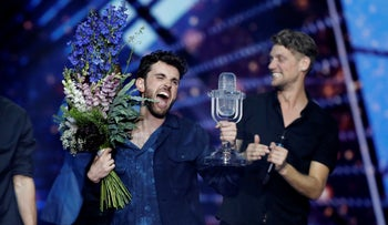 Duncan Laurence of the Netherlands celebrates after winning the 2019 Eurovision Song Contest grand final in Tel Aviv, Israel, Saturday, May 18, 2019.