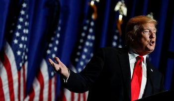 US President Donald Trump arrives to speak during the National Association of Realtors Legislative Meetings and Trade Expo in Washington, DC, May 17, 2019