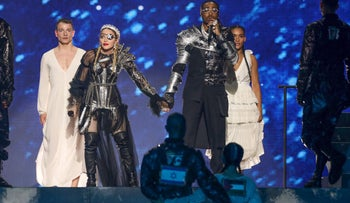 Madonna and rapper Quavo perform during the 64th edition of the Eurovision Song Contest, Tel Aviv, May 19, 2019.