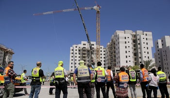 Building site where four workers were killed in a crane collapse, Yavne, May 19, 2019.
