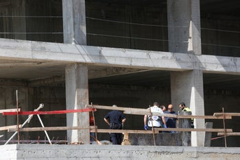Construction site where a worker was killed, Petah Tikva, May 16, 2019.