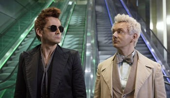 "David Tennant, left, and Michael Sheen as a demon and angel in ""Good Omens."""