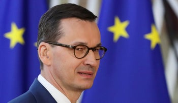 Poland's Prime Minister Mateusz Morawiecki arrives at an extraordinary European Union leaders summit to discuss Brexit, in Brussels, Belgium April 10, 2019.