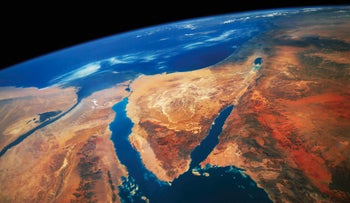 Satellite image of Middle East, Egypt: Photo shows vast desert swathes with a bit of green to the right of the Arabian peninsula. Climate change is expected to exacerbate and accelerate the extreme desertification of the region