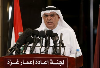 The Qatari envoy to the Gaza Strip, Mohammed al-Emadi, speaking during a press conference in Gaza City, May 14, 2019.