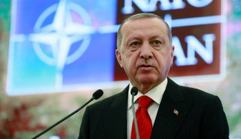 Turkish President Recep Tayyip Erdogan addresses NATO on the subject of the S-400s, Ankara, Monday, May 6, 2019.