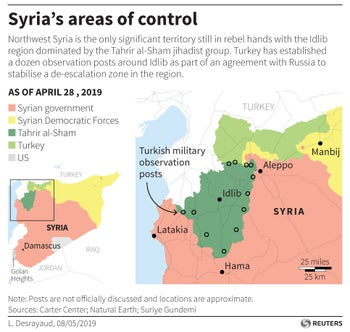 Map of the areas of control in Syria according to Carter Center with a detailed map of the northwest of the country and Idlib region