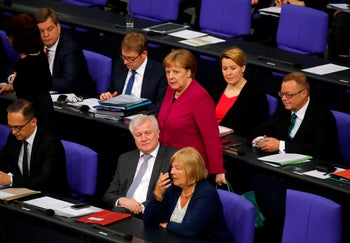 File photo: German Chancellor Angela Merkel, members of her cabinet and delegates attend a debate at the Bundestag, the lower house of parliament, in Berlin, May 16, 2019.