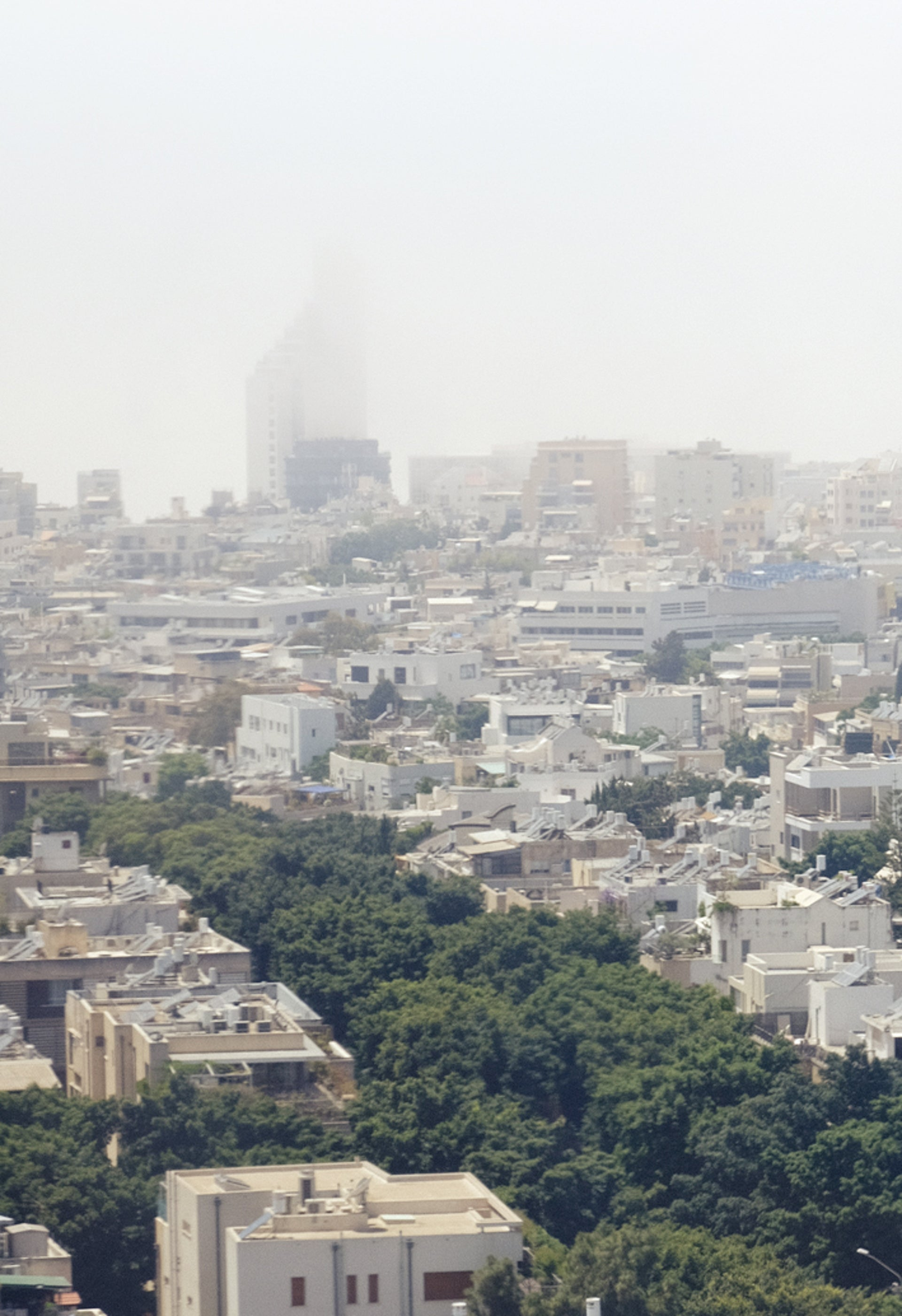 Tel Aviv on Wednesday. A foggy coast.