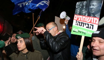 A demonstration against Prime Minister Benjamin Netanyahu meets a counter-protest, Tel Aviv, May 22, 2019.