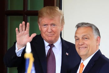 U.S. President Donald Trump welcoming Hungary Prime Minister Viktor Orban to the White House in Washington, May 13, 2019.