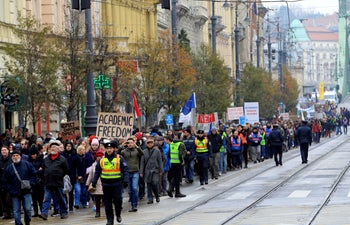 People attending a rally for the George Soros-founded Central European University in Budapest, Hungary, November 24, 2018.