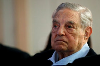"""George Soros, founder and chairman of the Open Society Foundations, after delivering a speech entitled """"How to save the European Union,"""" in Paris, May 29, 2018."""