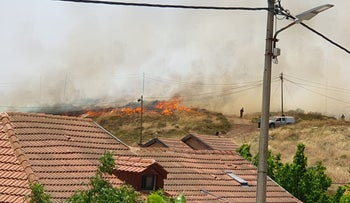 Fire spreads throughout southern Mount Hebron in the West Bank, May 23, 2019.