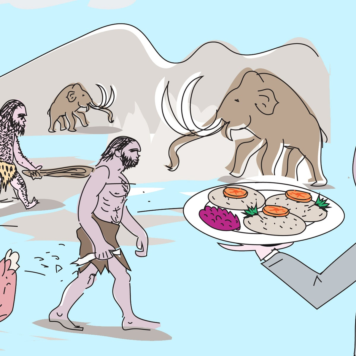 Illustration: Gideon Levy holds a plate with gefilte fish as cavemen walk around in the background.