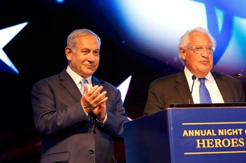 Israeli Prime Minister Benjamin Netanyahu and US ambassador David Friedman attend an event marking one year since the US embassy moved to Jerusalem. May 14, 2019