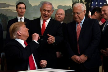 President Donald Trump gives the pen he signed U.S. recognition of Israeli sovereignty over the Golan to Israeli PM Benjamin Netanyahu. March 25, 2019
