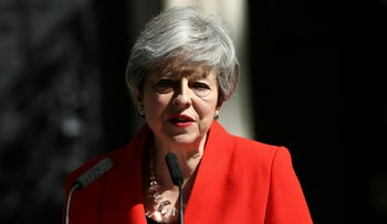 Britain's Prime Minister Theresa May makes a statement outside at 10 Downing Street in London, Friday May 24, 2019.