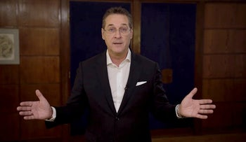 Austria's former Vice Chancellor and former head of Freedom Party Heinz-Christian Strache gives a statement in this in this picture grab obtained from a social media video May 24, 2019.