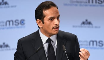 File photo: Qatar's Foreign Minister Sheikh Mohammed bin Abdulrahman Al-Thani speaks during the annual Munich Security Conference in Munich, Germany February 17, 2019.