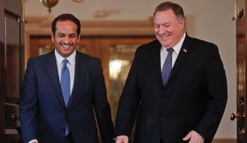 File photo: Secretary of State Mike Pompeo, (R), with Qatari Foreign Minister Sheikh Mohammed bin Abdulrahman Al Thani, (L), at the State Department, Washington DC, April 24, 2019.