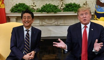 File photo: U.S. President Donald Trump meeting with Japanese Prime Minister Shinzo Abe in the Oval Office of the White House in Washington, April 2019.