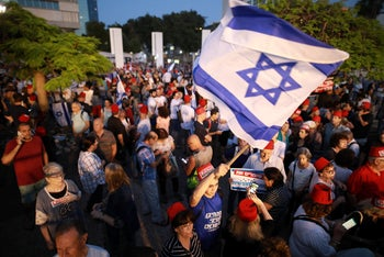 Protesters at a pre-election demonstration against 'Crime Minister' Benjamin Netanyahu's alleged corruption. Tel Aviv, May 25, 2019