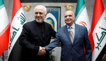Iranian Foreign Minsiter, Mohammad Javad Zarif, meets with Iraqi Foreign Minister Mohamed Ali Alhakim in Baghdad, Iraq May 26, 2019.