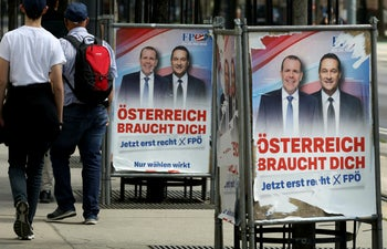 Far right Freedom Party EU election posters featuring the now-disgraced ex-party leader and former Austrian Vice Chancellor Heinz-Christian Strache (R). Vienna, Austria, May 26, 2019