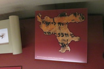 Fragment of the Dead Sea Scrolls, displayed at the Bible Museum in Washington