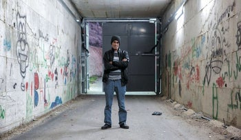 Omar Hajajla in the tunnel the Defense Ministry built for him.