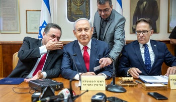 Prime Minister Benjamin Netanyahu during a weekly cabinet meeting, Jerusalem, May 26, 2019.