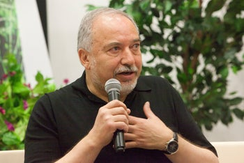 Avigdor Lieberman speaks in the Israeli city of Netivot, May 24, 2019.