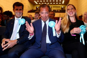Brexit Party leader Nigel Farage waits reacts to the results for the European Parliamentary election in Southampton, Britain, May 27, 2019